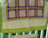 Handcrafted Baby Quilt with  Lambs on a Yellow Background with Hot Pink & Green Accenting AND Matching Pillow Sham