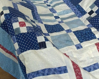 Handcrafted Couch/Sofa  Quilt/Throw in Blue and White with Red Accents (FREE SHIPPING)