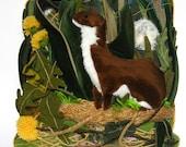 Weasel in the grass- Handmade decorative pillow