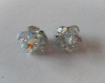 lovely vintage crystal clip on earrings