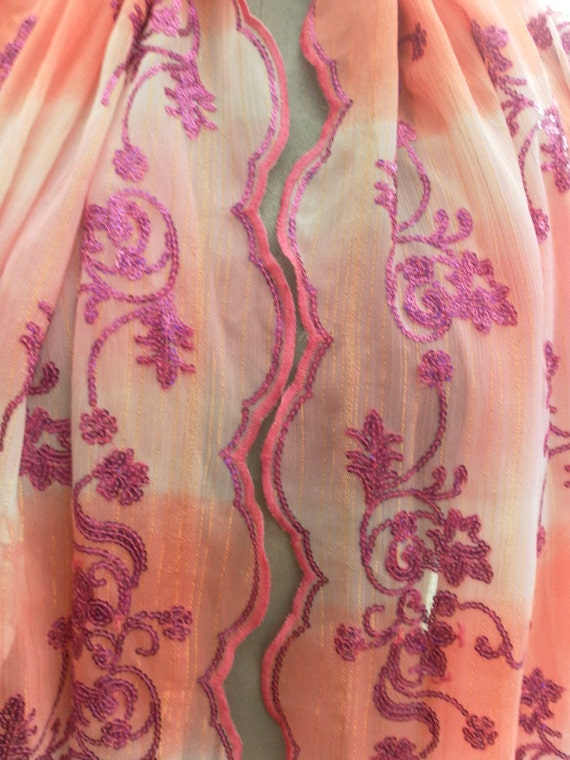 Beautiful Vintage sari veil deep pinks with sequined embroidery