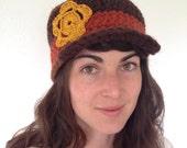 Handmade Crochet Golden Flower Hat