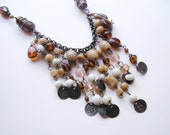 Bohemian neutral beaded chain necklace