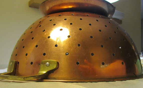 Copper Clad Stainless Steel Colander with Brass Handles