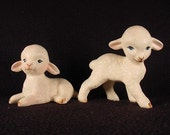 Vintage 1960-70s 2 Lefton White Lamb Sheep Figurines