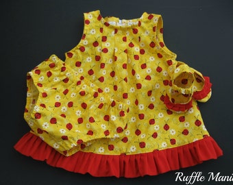 Infant sundress in yellow with ladybugs print, set includes matching panties, ruffled shoes, headband w/bow, 6-9 mths