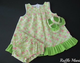 Infant sundress in lime green flowered print , set includes matching panties, ruffled shoes, headband w/bow, 3-6 mths
