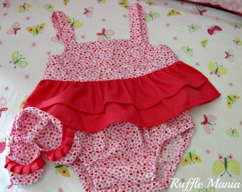 Infant sun top with matching panties in heart print fabric, set includes ruffled shoes, headband w/bow set, Size 6-9 mths