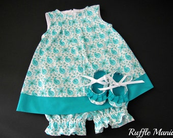 Infant sundress in turquoise paisley print, set includes matching panties, ruffled shoes, headband w/bow , Size 3-6 months