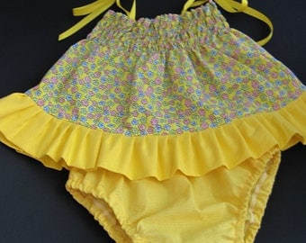 Infant sundress, shirred top in yellow print , set includes yellow panties, ruffled shoes, headband w/bow set, 3-6 mths