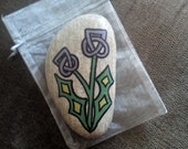 Hand Painted Scottish Celtic Double Thistle Pebble