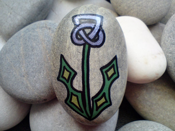 Hand Painted Scottish Celtic Thistle Pebble