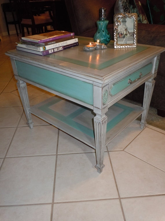 RESERVE- Vintage accent or side table handpainted in chalk paints Paris Grey and Provence- FOR CLARA