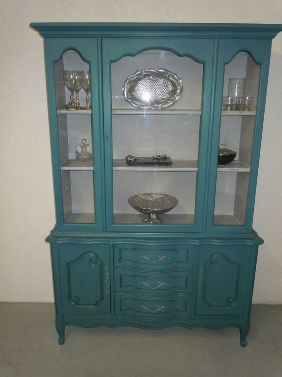 Reserve French Provincial China Cabinet In Teal Or Peacock