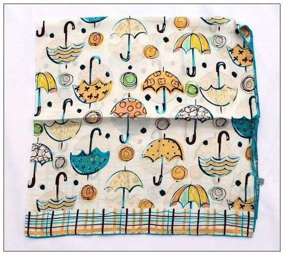 Mulberry Silk Scarf London Umbrella Check Design- Foulard de Soie de Mûrier