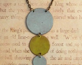 Blue and Green Drops Hand Torched Enamel Necklace