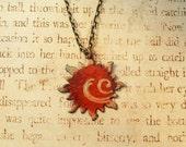 Solar Flare Sun Orange Hand Torched Enamel Necklace