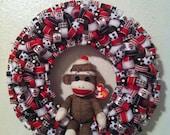 Sock Monkey Ribbon Wreath