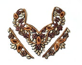 Vintage India Applique Collar And Cuffs Oriental Golden