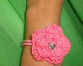 Knitted flower girly rubber bracelet