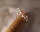 Pastel pealrs Wire beaded silver plated sweet ring
