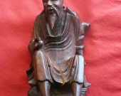 Antique Oriental Wood Carved Immortal Elder signed by Artist