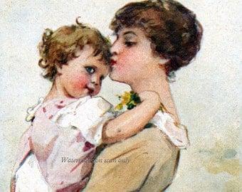Mother Baby Fabric Block Mamma Hugs Toddler Elda Cenni Image