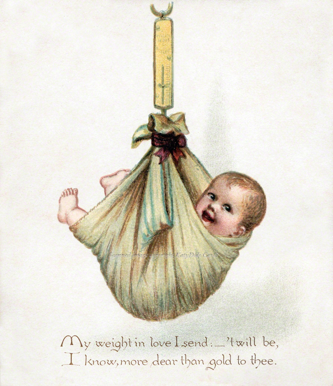 Baby Fabric Block Child in Sling Being Weighed Nursery – Vintage Baby Announcements