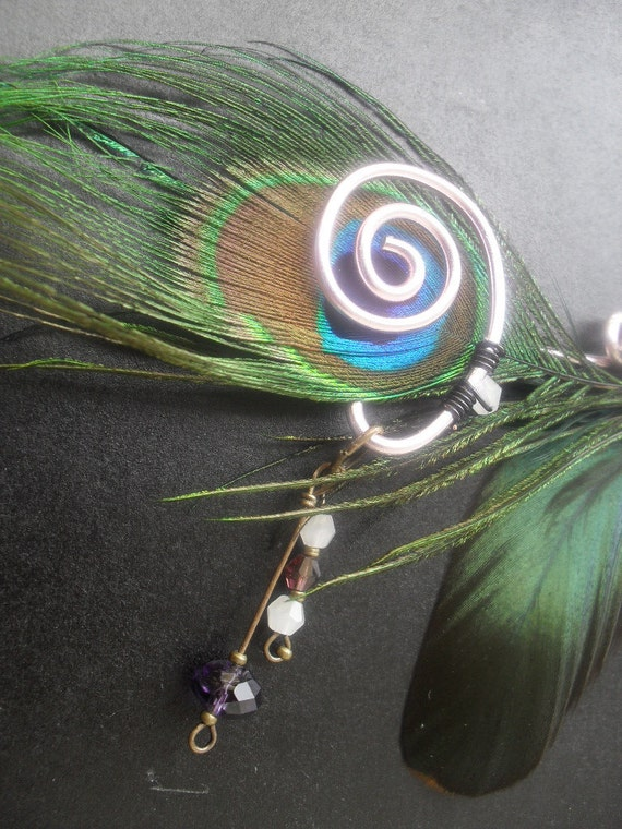 Wire scroll and feather Hair Clip, Burlesque/ Steampunk style