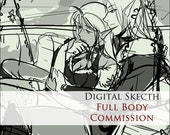 COMMISSION: Digital sketch - 1 Character - FULL BODY - Custom commissioned artwork