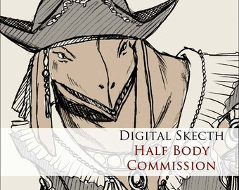 COMMISSION: Digital sketch - 1 Character - HALF BODY - Custom commissioned artwork