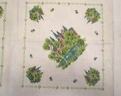 Vintage 1960's Linen Tablecloth Castles Churches have a Little Princess Tea Birthday Party