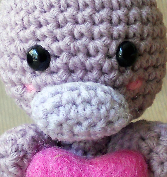 RESERVED Amigurumi Duck-Billed Platypus with Heart RESERVED