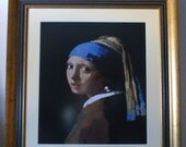 """Handmade Tapestry   """"Girl with a Pearl Earring"""" by Vermeer / Reproduction    41cm x 36cm  / 16.14"""" x 14.1"""""""