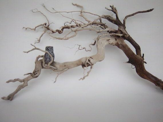 Glass Owl Driftwood Art