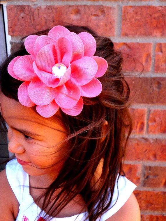 Ribbon Flower Hairbow blue