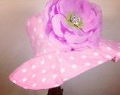 Toddler- Baby Girl Sun Hat, pink and white polk dot, pink flower sun hat ,ready to ship.girl summer hat.