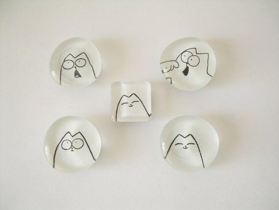 Simon's Cat Glass Fridge Magnets