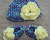 Matching Multicolored baby hat and booties set with Yellow Flowers