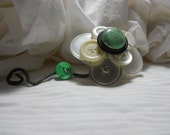 Hand Crafted Button Flower Adornment Vintage Buttons