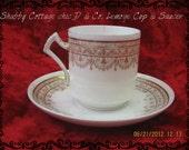 Vintage porcelain gold pattern D & Co. limoges cup and saucer shabby cottage chic