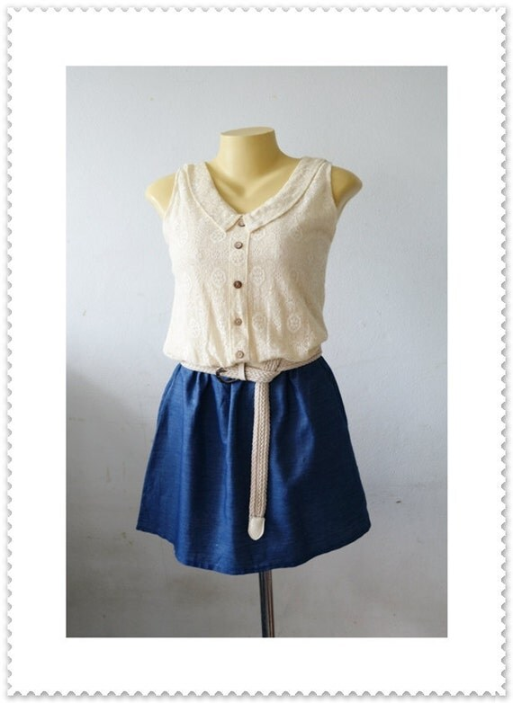 Summer Dress Sleeveless Dress Jeans Lace Top Dress Mini Dress Sundress Tank Top Lace Dress Tunic Dress Womens Blouse Denim Size XS S