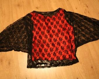 SALE Grunge lace bat wing shirt.