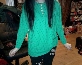 SALE 80s Green with black polkadot shirt.