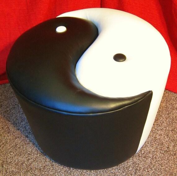 Yin Yang leather ottoman