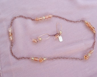Coral Bling Necklace & Earring Set