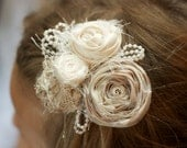 vintage wedding flower hair piece beige cream ivory pearls beads photo prop easter hair clip fabric flower children newborn flower girl