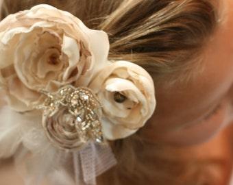 vintage inspired wedding flower hair piece ivory sequins rhinestones feathers - photo prop fabric flower children newborn flower girl