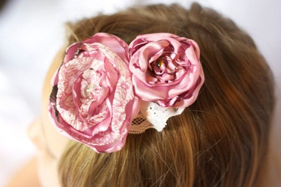 Sale vintage inspired upcycled flower hair piece pink and cream with lace photo prop  hair clip fabric children newborn flower girl