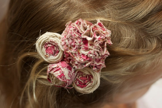 vintage inspired children flower hair piece pink beige tan photo prop hair clip flower fabric flower girl upcycled